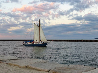 Sailing the Lotus into Sodus Bay <i>- by Cathy Contant</i>